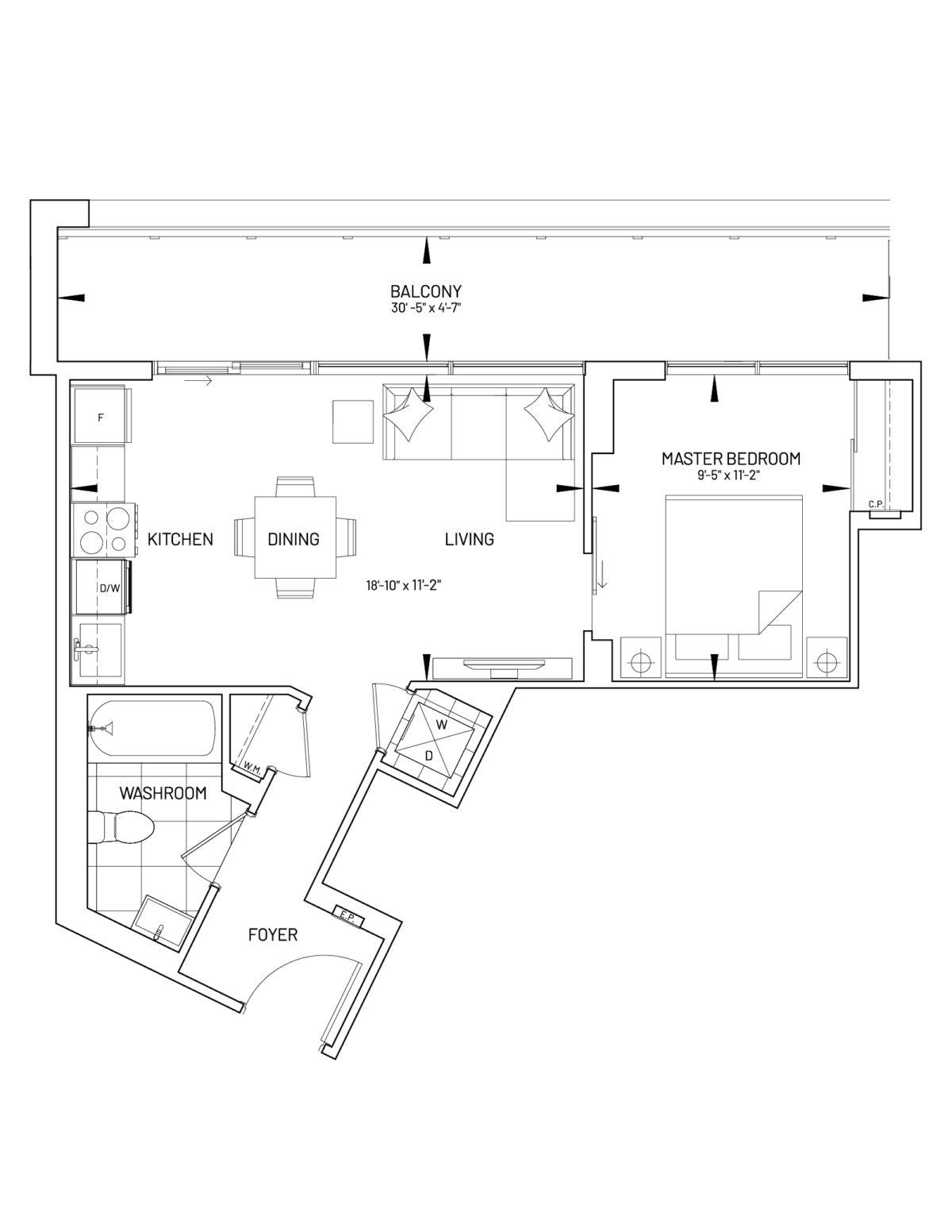 Suite 1-F Floor Plan