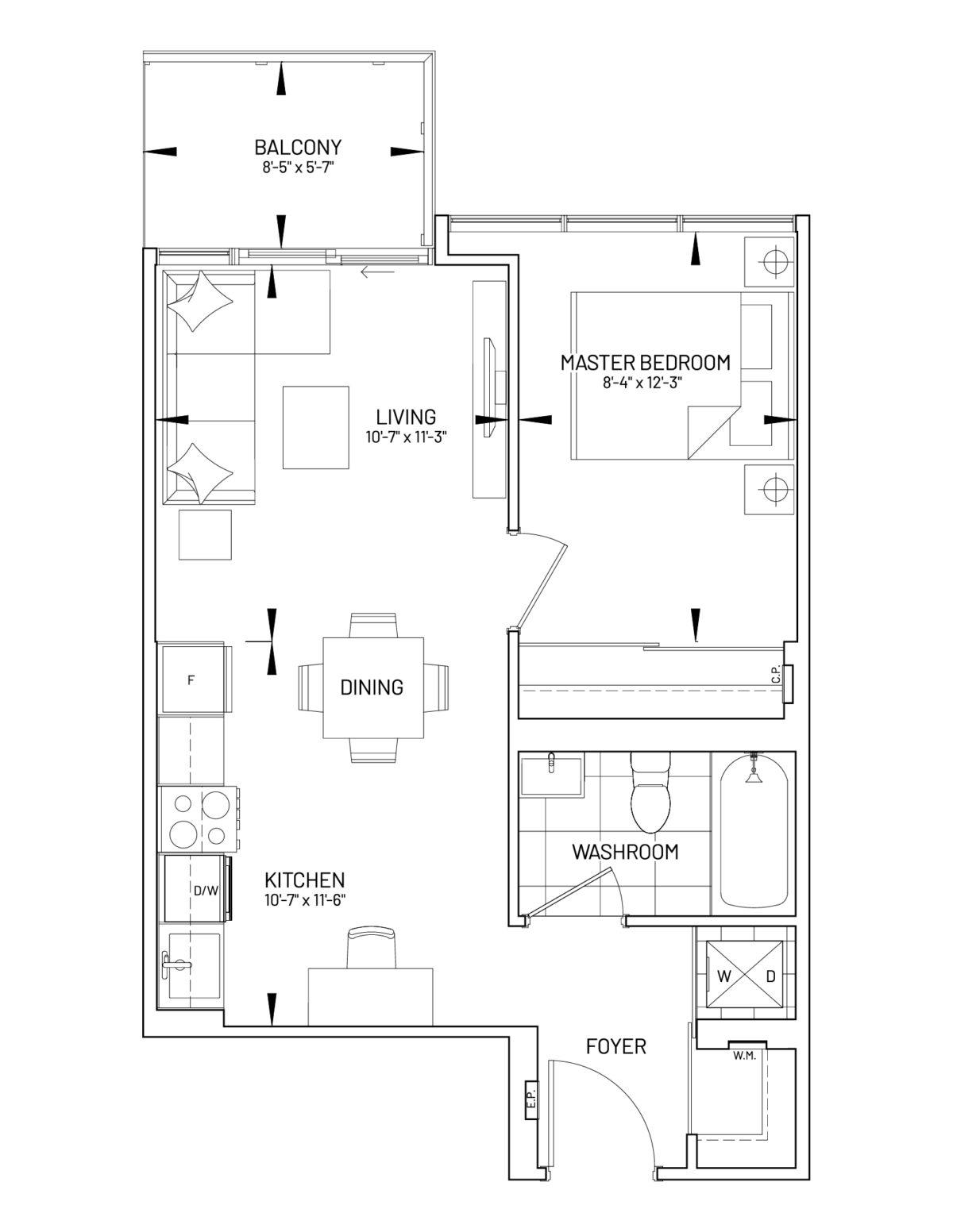 Suite 1-K Floor Plan