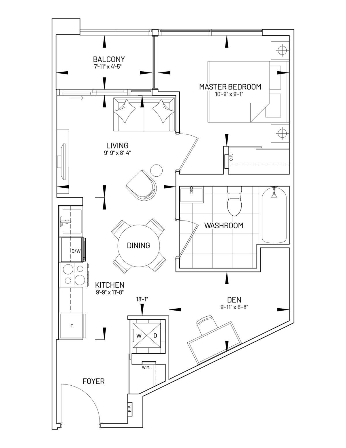Suite 1D-B Floor Plan