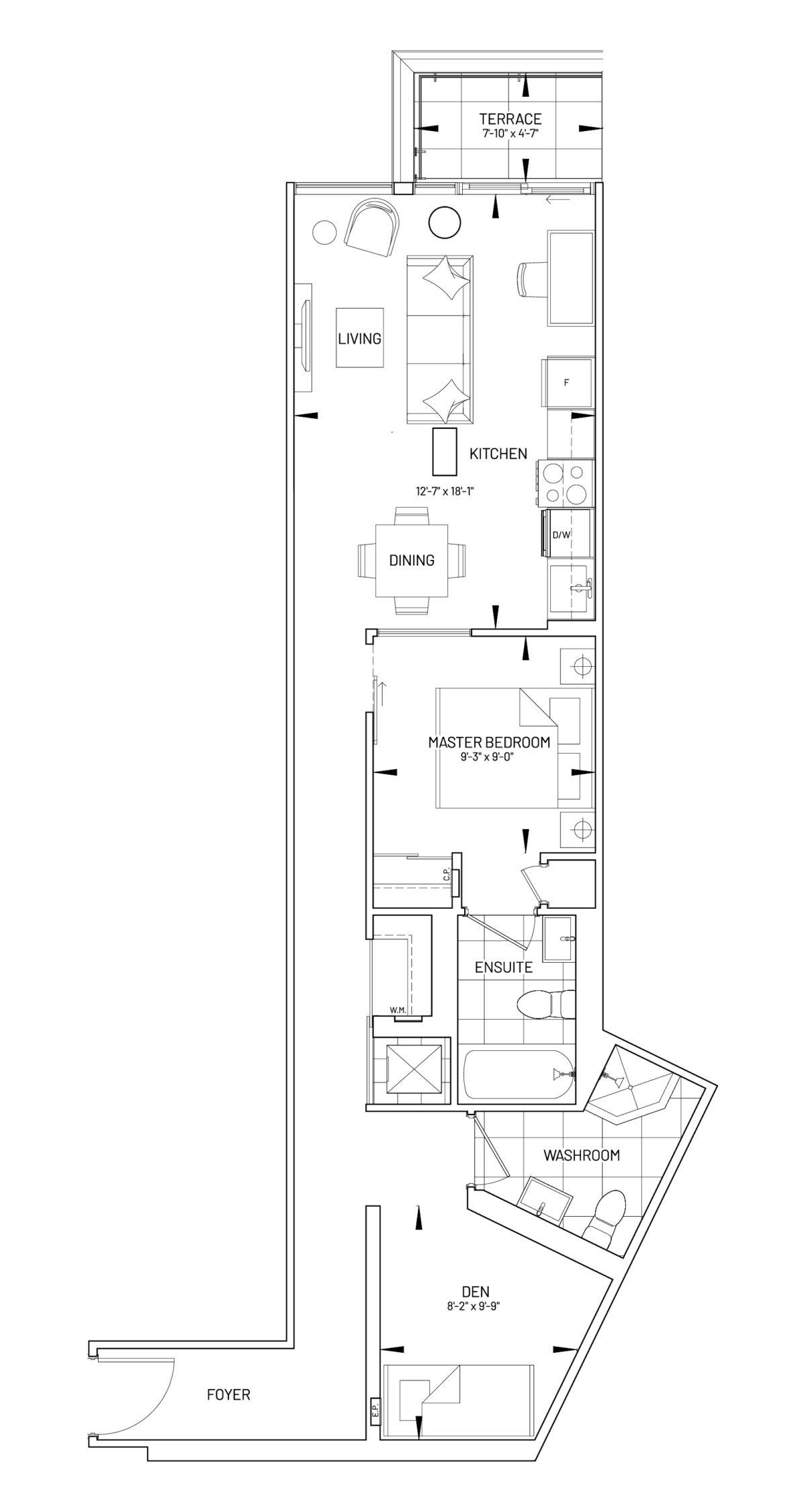 Suite 1D-AW Floor Plan