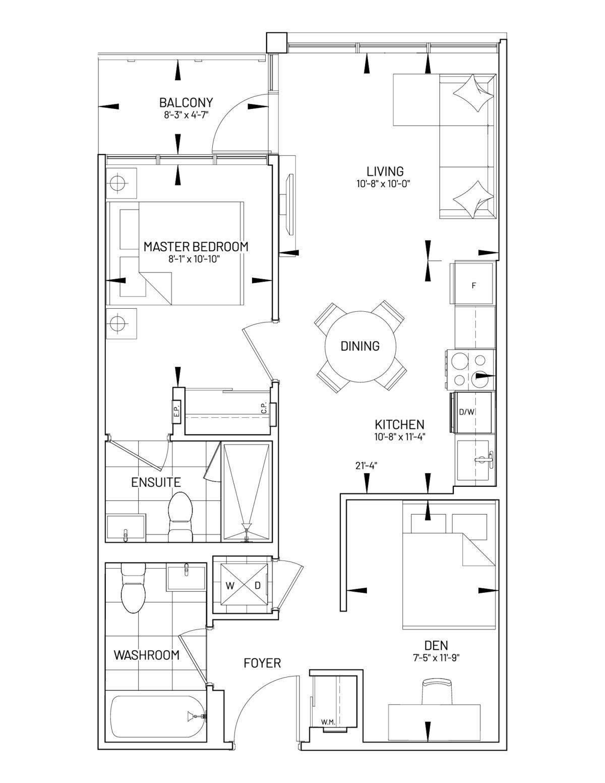 Suite 1D-W Floor Plan