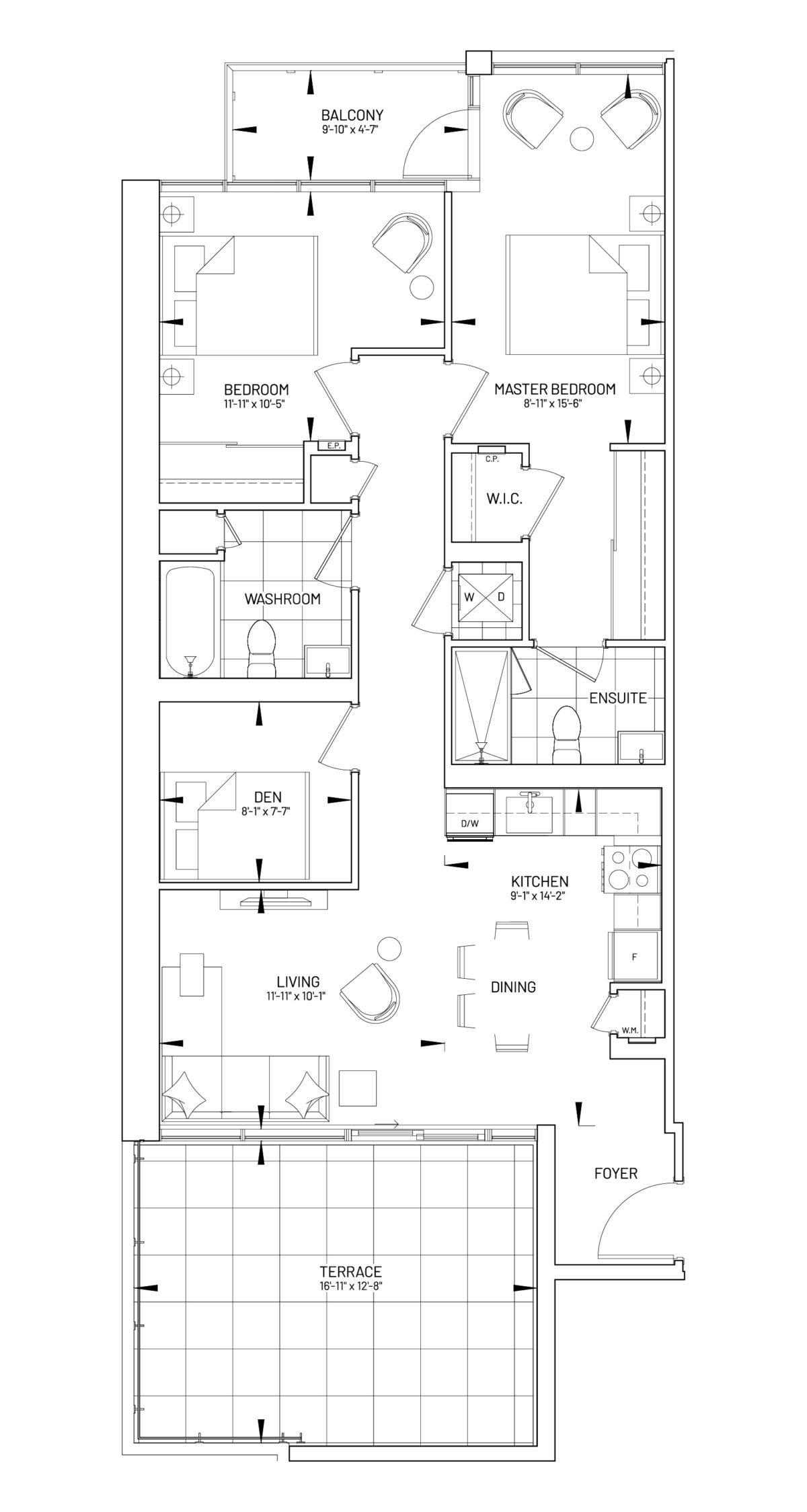 Suite 2D-M Floor Plan