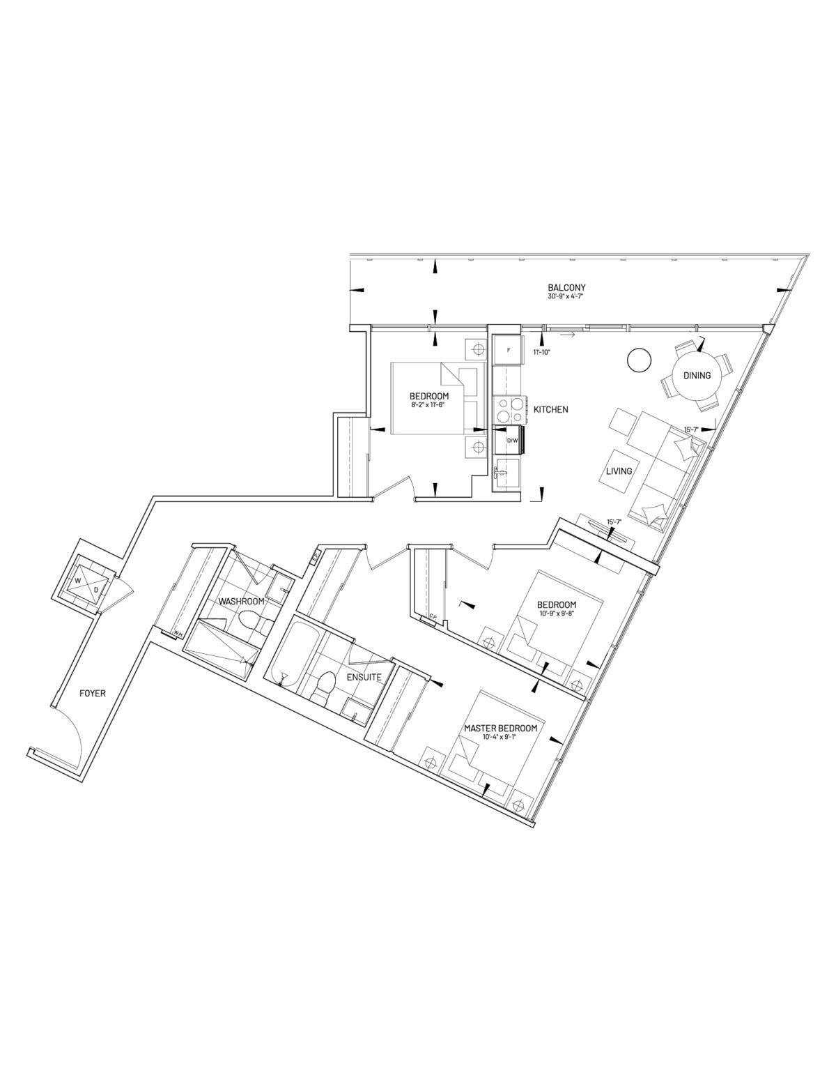 Suite 3-H Floor Plan